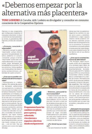 Entrevista sobre consumo consciente a Toni Lodeiro en El Periódico (2018)